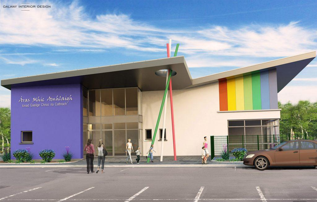 Galway Interior Design Visualisation Preschool Gaelscoil Mhic Amhlaigh Front View