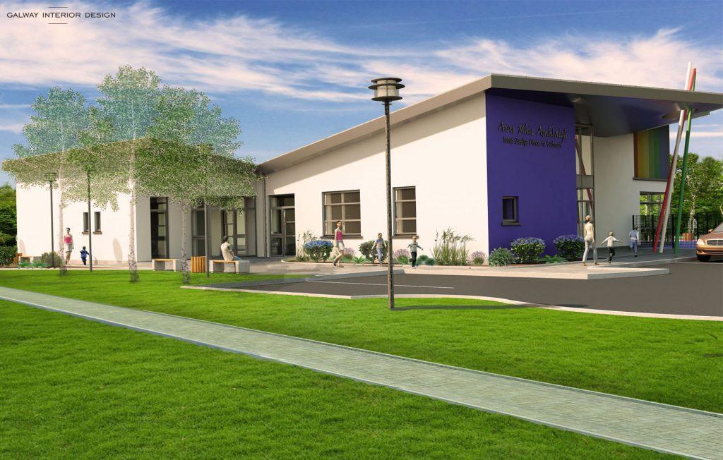 Galway Interior Design Visualisation Preschool Gaelscoil Mhic Amhlaigh North View