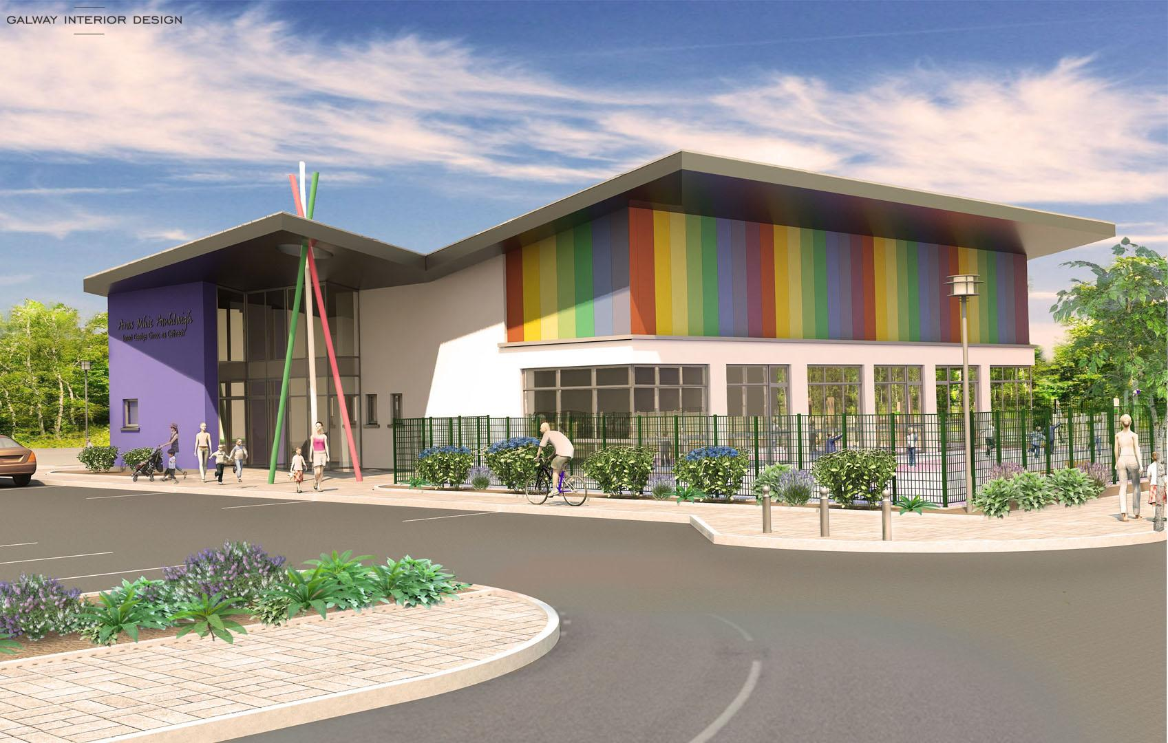 Galway Interior Design Visualisation Preschool Gaelscoil Mhic Amhlaigh West View